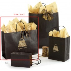 "Metallic-On-Kraft Shoppers - 16"" x 6"" x 12 1/2"" (250 Bags)"