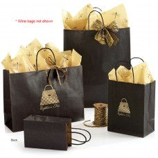 "Metallic-On-Kraft Wine Shoppers - 5 1/4"" x 3 1/4"" x 13"" (250 Bags)"